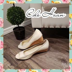 Cole Haan wedges white corkscrew nike peep toe 7.5
